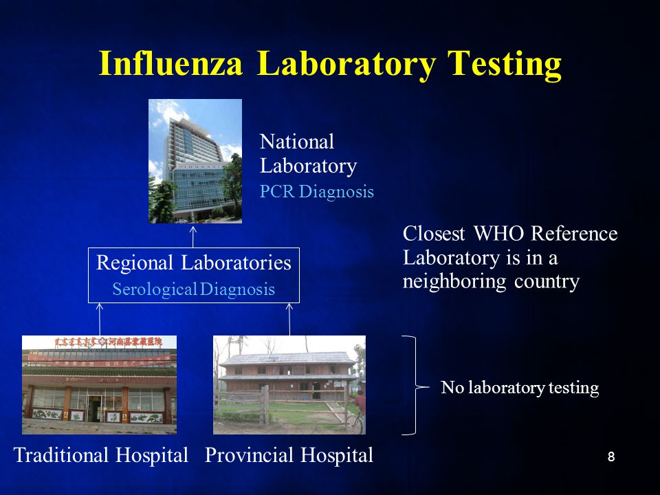 Influenza Laboratory Testing 8 Provincial HospitalTraditional Hospital National Laboratory PCR Diagnosis Regional Laboratories Serological Diagnosis Closest WHO Reference Laboratory is in a neighboring country No laboratory testing