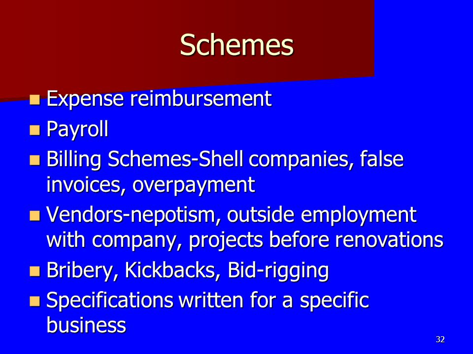 Schemes Expense reimbursement Expense reimbursement Payroll Payroll Billing Schemes-Shell companies, false invoices, overpayment Billing Schemes-Shell