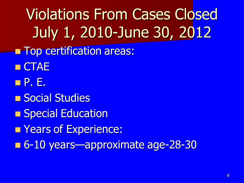 Violations From Cases Closed July 1, 2010-June 30, 2012 Top certification areas: Top certification areas: CTAE CTAE P. E. P. E. Social Studies Social