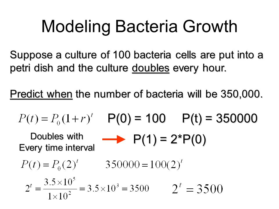 Modeling Bacteria Growth Suppose a culture of 100 bacteria cells are put into a petri dish and the culture doubles every hour. Predict when the number