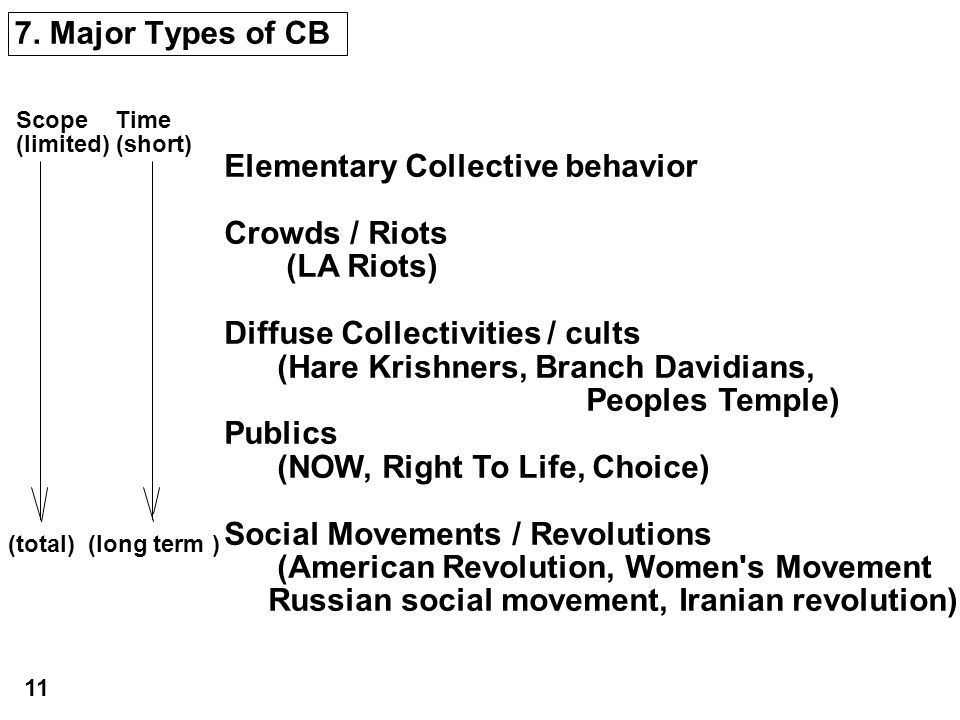 7. Major Types of CB Elementary Collective behavior Crowds / Riots (LA Riots) Diffuse Collectivities / cults (Hare Krishners, Branch Davidians, People