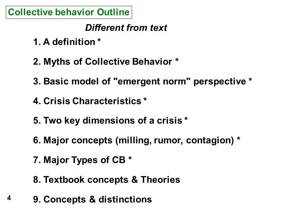 Collective behavior Outline 1. A definition * 2. Myths of Collective Behavior * 3. Basic model of