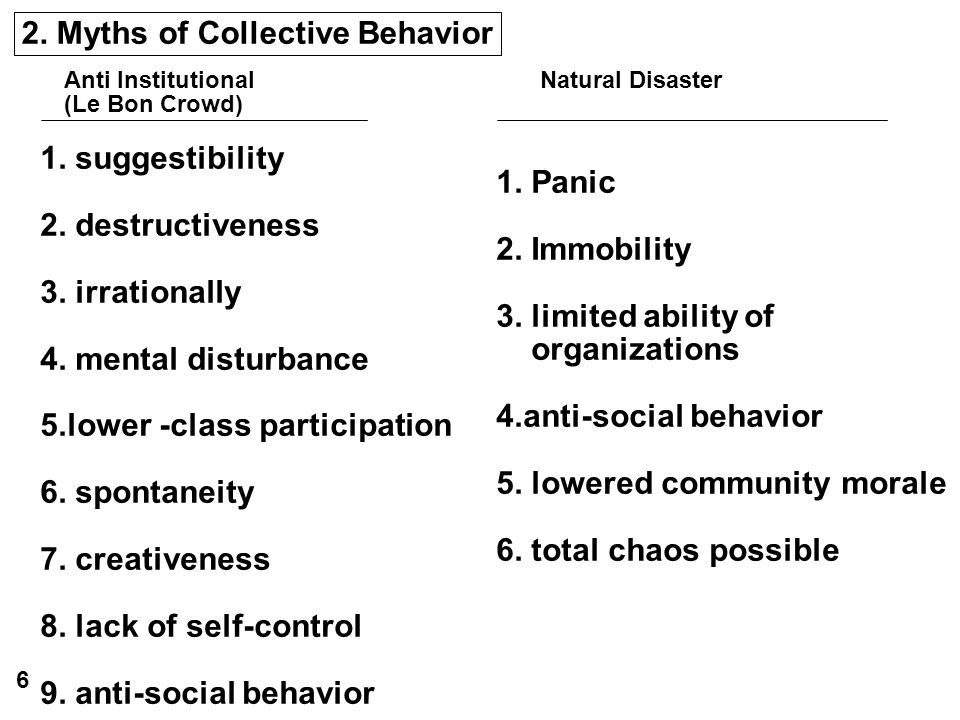 2. Myths of Collective Behavior Anti Institutional Natural Disaster (Le Bon Crowd) 1. suggestibility 2. destructiveness 3. irrationally 4. mental dist