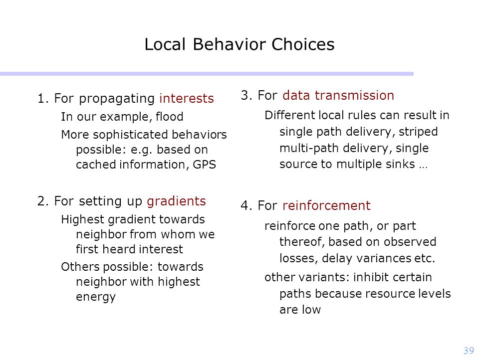 39 Local Behavior Choices 1.