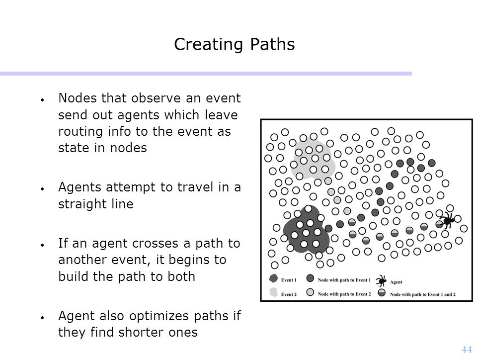 44 Creating Paths Nodes that observe an event send out agents which leave routing info to the event as state in nodes Agents attempt to travel in a straight line If an agent crosses a path to another event, it begins to build the path to both Agent also optimizes paths if they find shorter ones