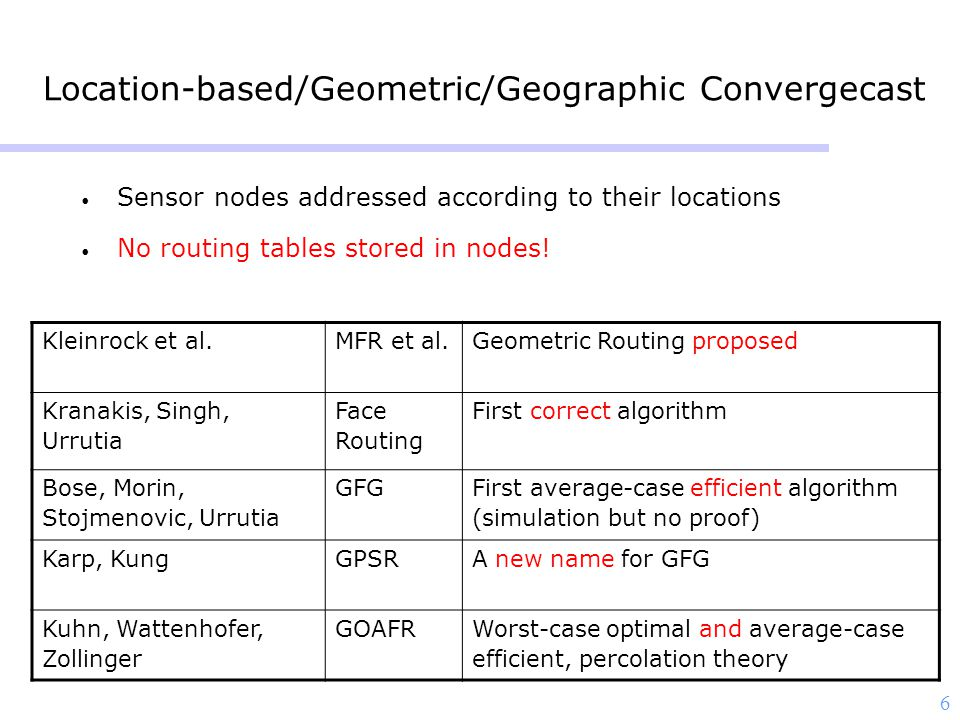 6 Location-based/Geometric/Geographic Convergecast Sensor nodes addressed according to their locations No routing tables stored in nodes.
