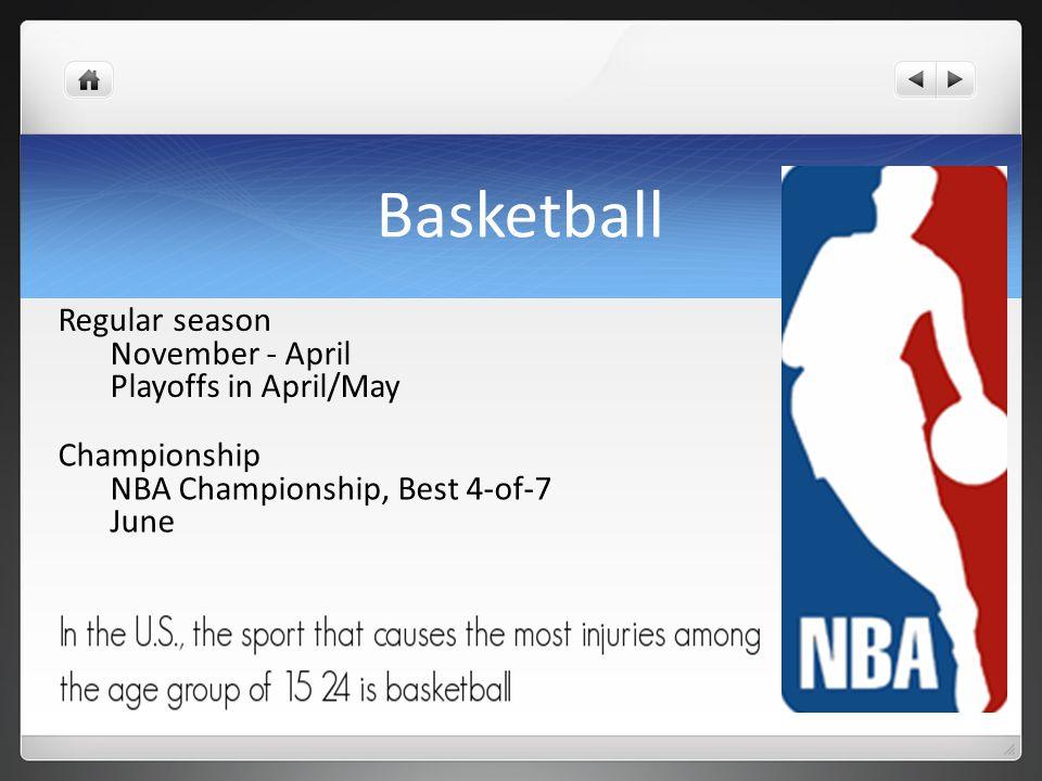 Basketball Regular season November - April Playoffs in April/May Championship NBA Championship, Best 4-of-7 June
