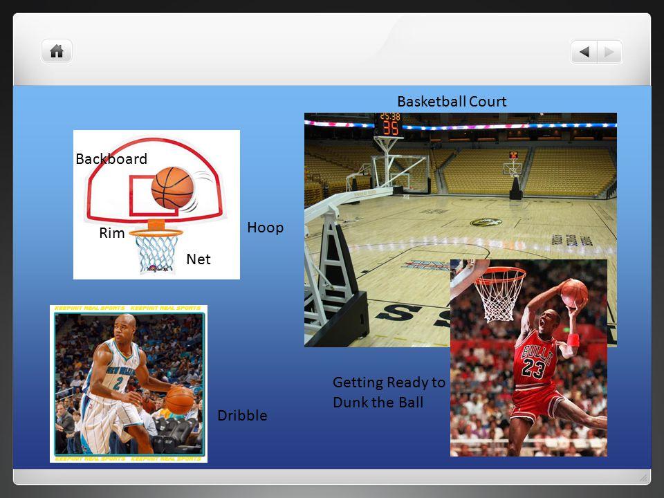 Hoop Net Rim Backboard Basketball Court Dribble Getting Ready to Dunk the Ball