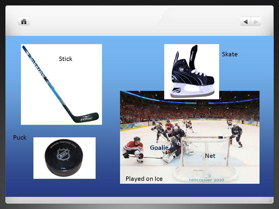 Skate Stick Puck Played on Ice Net Goalie