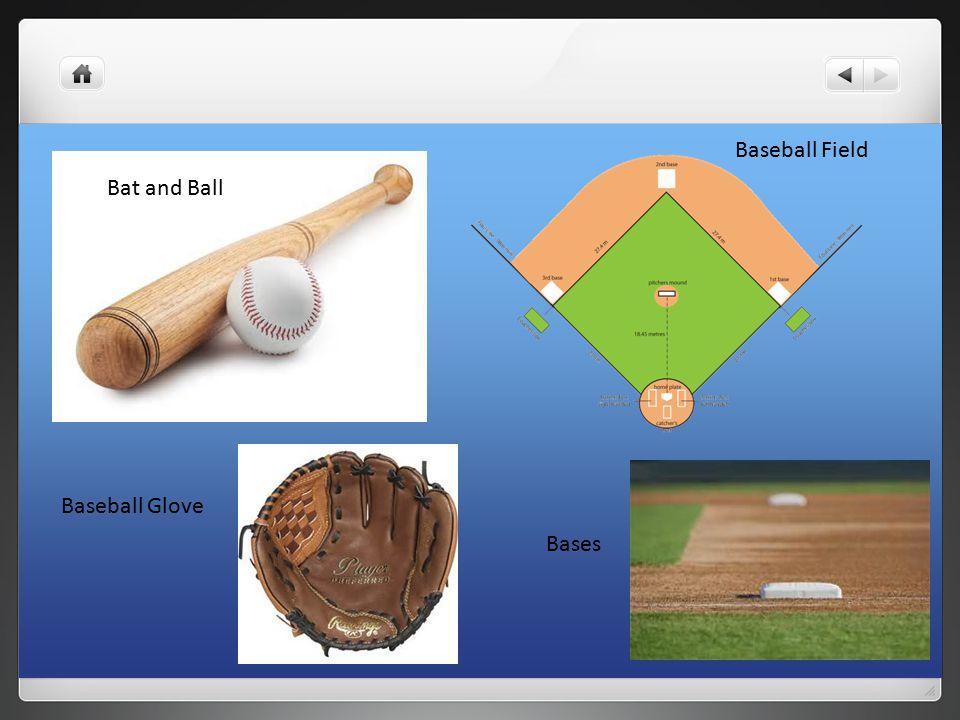 Baseball Glove Bases Baseball Field Bat and Ball