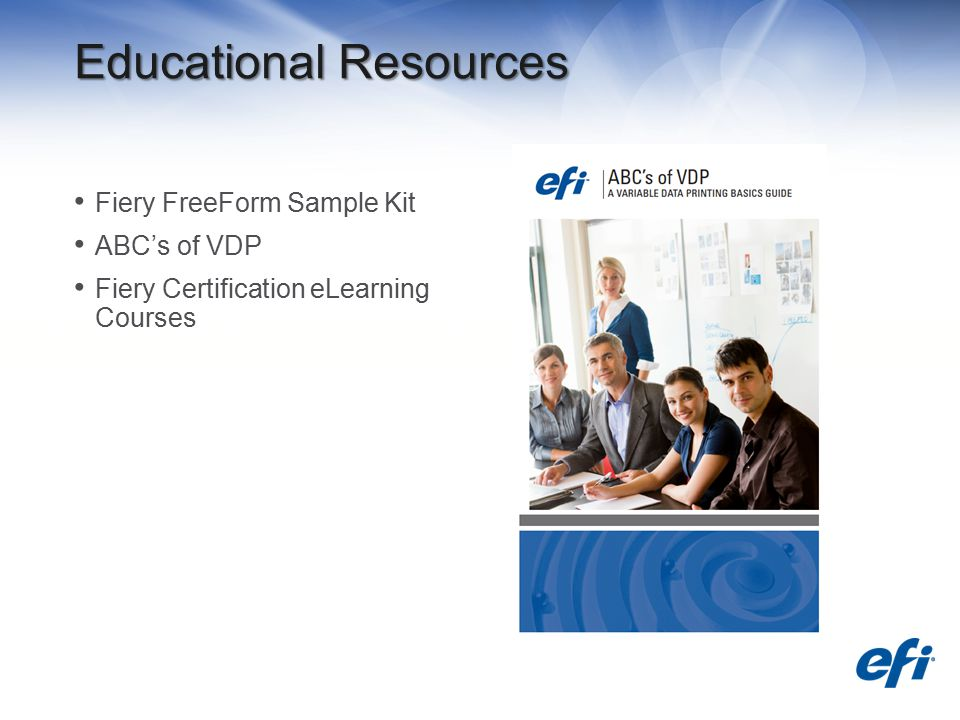 Educational Resources Fiery FreeForm Sample Kit ABC's of VDP Fiery Certification eLearning Courses