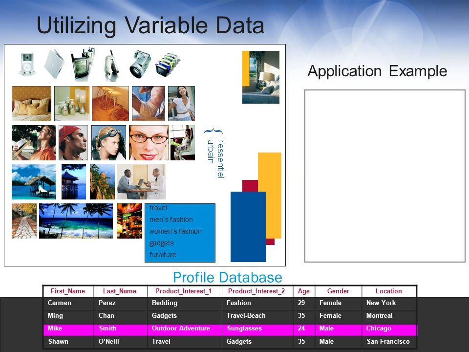 Profile Database furniture women's fashion Application Example Utilizing Variable Data gadgets travel First_NameLast_NameProduct_Interest_1Product_Int