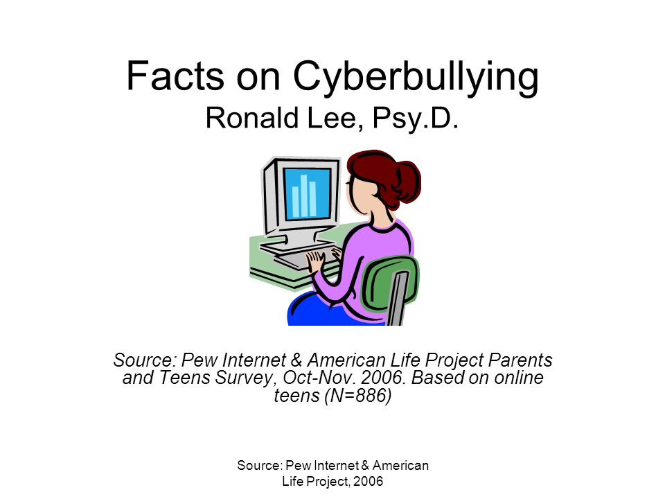 Source: Pew Internet & American Life Project, 2006 Facts on Cyberbullying Ronald Lee, Psy.D.