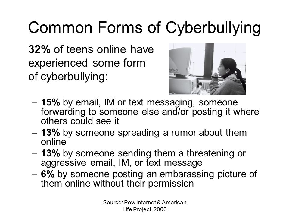Source: Pew Internet & American Life Project, 2006 Common Forms of Cyberbullying 32% of teens online have experienced some form of cyberbullying: –15% by email, IM or text messaging, someone forwarding to someone else and/or posting it where others could see it –13% by someone spreading a rumor about them online –13% by someone sending them a threatening or aggressive email, IM, or text message –6% by someone posting an embarassing picture of them online without their permission