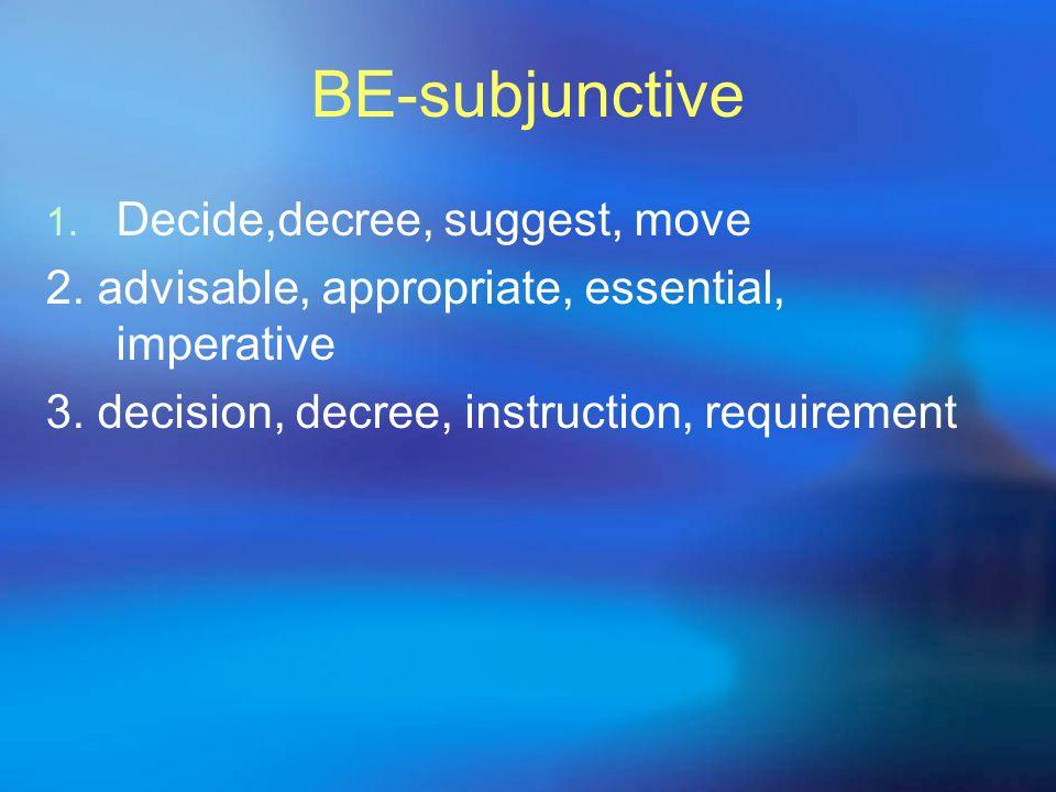 BE-subjunctive 1. Decide,decree, suggest, move 2. advisable, appropriate, essential, imperative 3. decision, decree, instruction, requirement