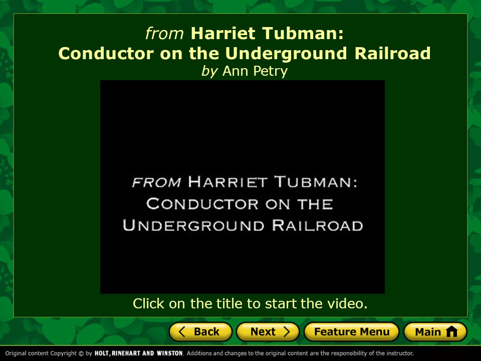 from Harriet Tubman: Conductor on the Underground Railroad by Ann Petry How much should a person sacrifice for freedom