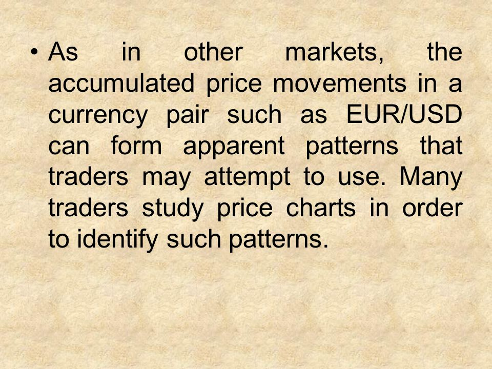 As in other markets, the accumulated price movements in a currency pair such as EUR/USD can form apparent patterns that traders may attempt to use.
