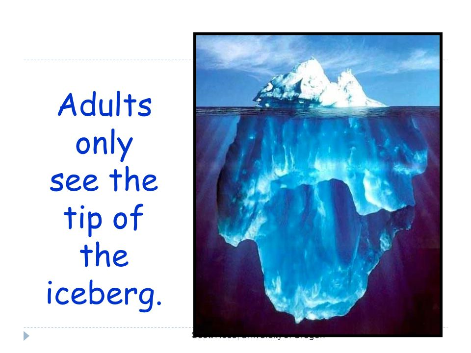 Scott Ross, University of Oregon Adults only see the tip of the iceberg.