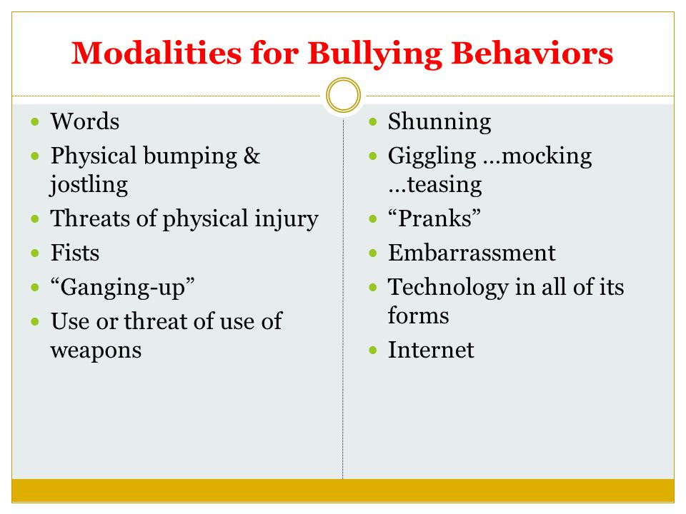 Modalities for Bullying Behaviors Words Physical bumping & jostling Threats of physical injury Fists Ganging-up Use or threat of use of weapons Shunning Giggling …mocking …teasing Pranks Embarrassment Technology in all of its forms Internet