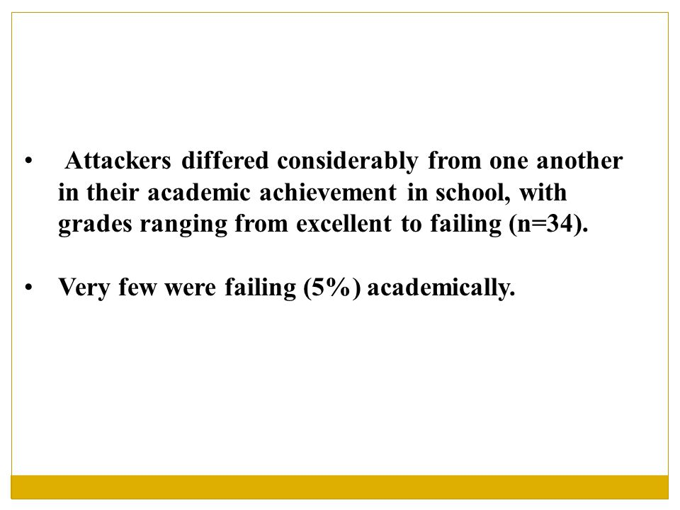 Attackers differed considerably from one another in their academic achievement in school, with grades ranging from excellent to failing (n=34).