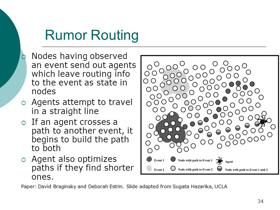 34 Rumor Routing  Nodes having observed an event send out agents which leave routing info to the event as state in nodes  Agents attempt to travel in a straight line  If an agent crosses a path to another event, it begins to build the path to both  Agent also optimizes paths if they find shorter ones.