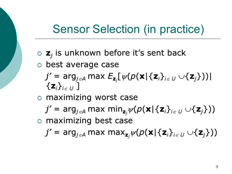 10 Sensor Selection Example