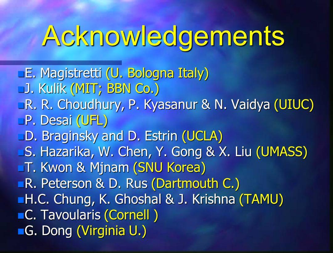 Acknowledgements n E. Magistretti (U. Bologna Italy) J.