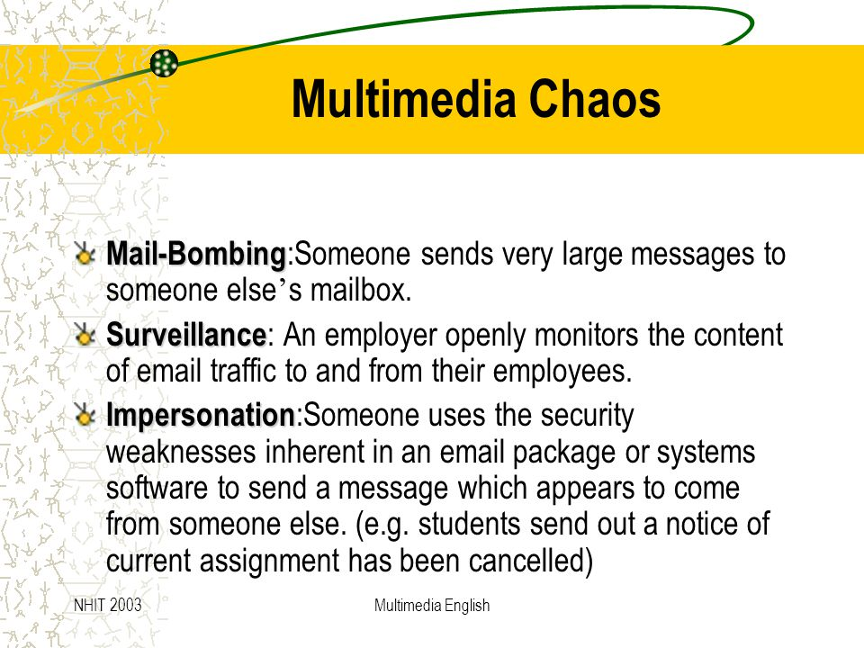 NHIT 2003Multimedia English Multimedia Chaos Mail-Bombing Mail-Bombing :Someone sends very large messages to someone else ' s mailbox.