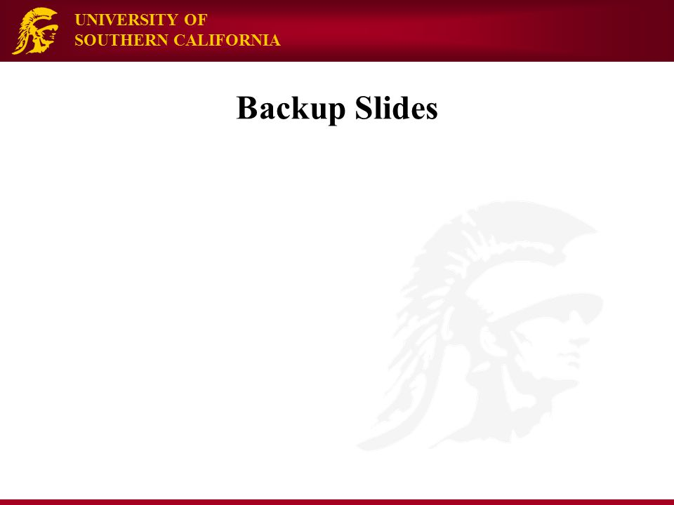 UNIVERSITY OF SOUTHERN CALIFORNIA Backup Slides