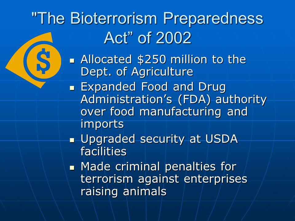 The Bioterrorism Preparedness Act of 2002 Allocated $250 million to the Dept.