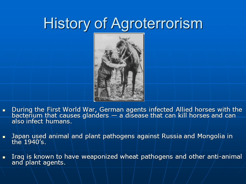 History of Agroterrorism During the First World War, German agents infected Allied horses with the bacterium that causes glanders — a disease that can