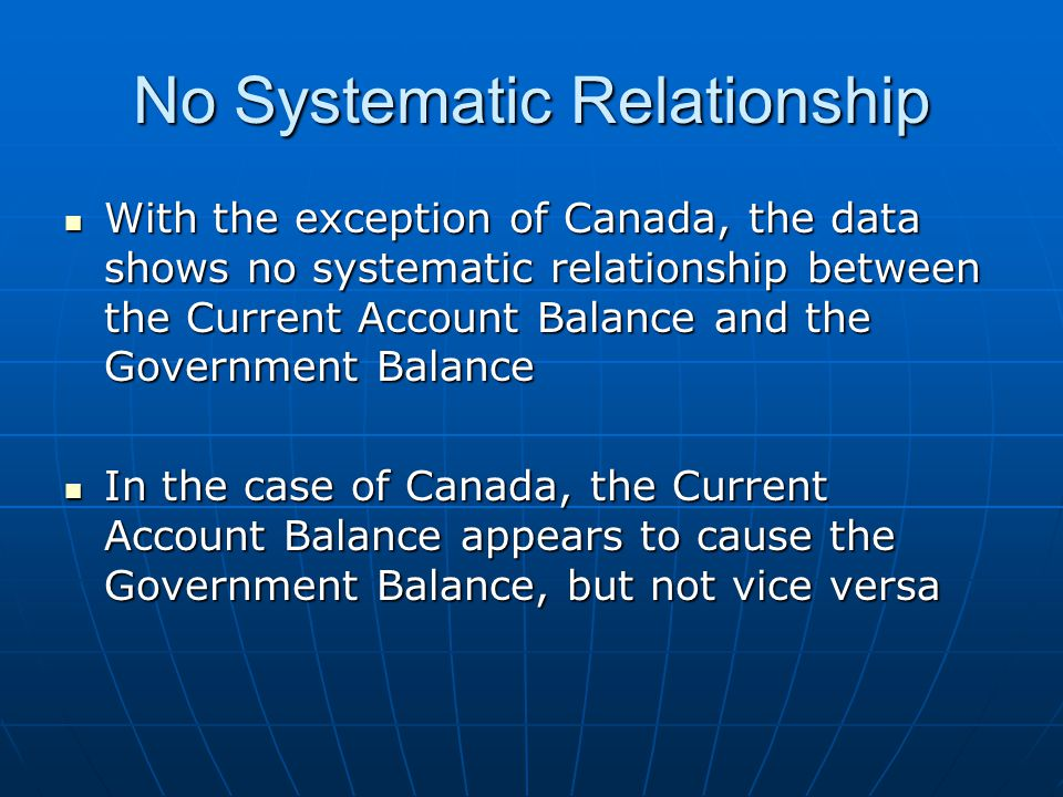 No Systematic Relationship With the exception of Canada, the data shows no systematic relationship between the Current Account Balance and the Government Balance With the exception of Canada, the data shows no systematic relationship between the Current Account Balance and the Government Balance In the case of Canada, the Current Account Balance appears to cause the Government Balance, but not vice versa In the case of Canada, the Current Account Balance appears to cause the Government Balance, but not vice versa