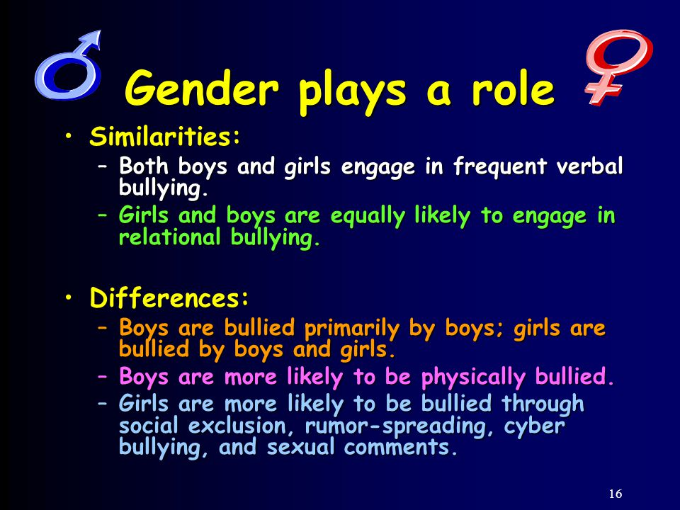 16 Gender plays a role Similarities:Similarities: –Both boys and girls engage in frequent verbal bullying.