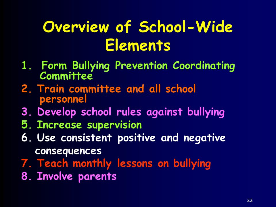 22 Overview of School-Wide Elements 1. Form Bullying Prevention Coordinating Committee 2.
