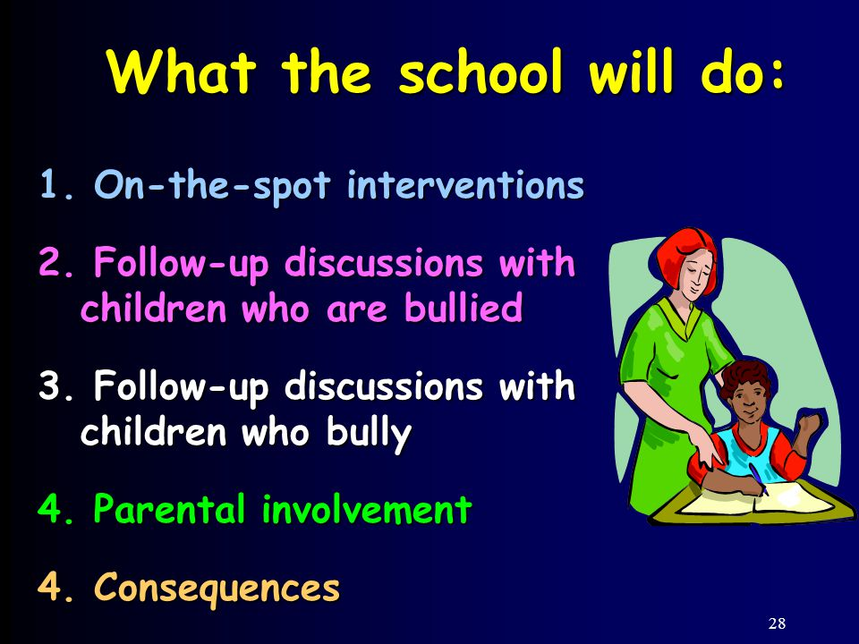 28 What the school will do: 1.On-the-spot interventions 2.