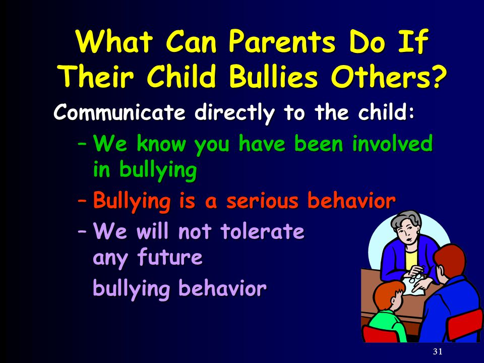 31 Communicate directly to the child: –We know you have been involved in bullying –Bullying is a serious behavior –We will not tolerate any future bullying behavior What Can Parents Do If Their Child Bullies Others