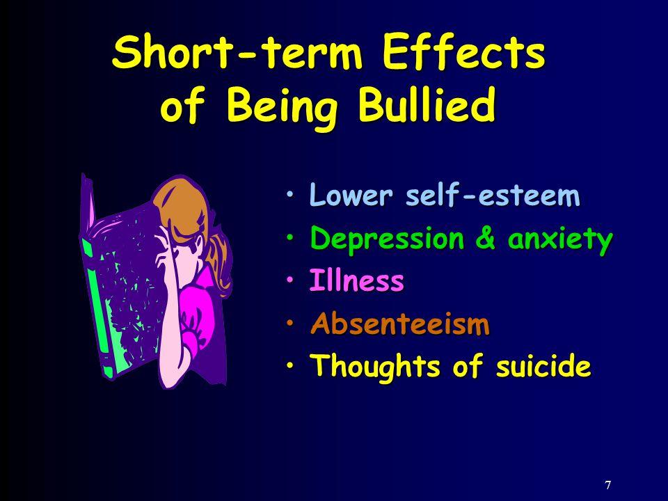 7 Short-term Effects of Being Bullied Lower self-esteemLower self-esteem Depression & anxietyDepression & anxiety IllnessIllness AbsenteeismAbsenteeism Thoughts of suicideThoughts of suicide