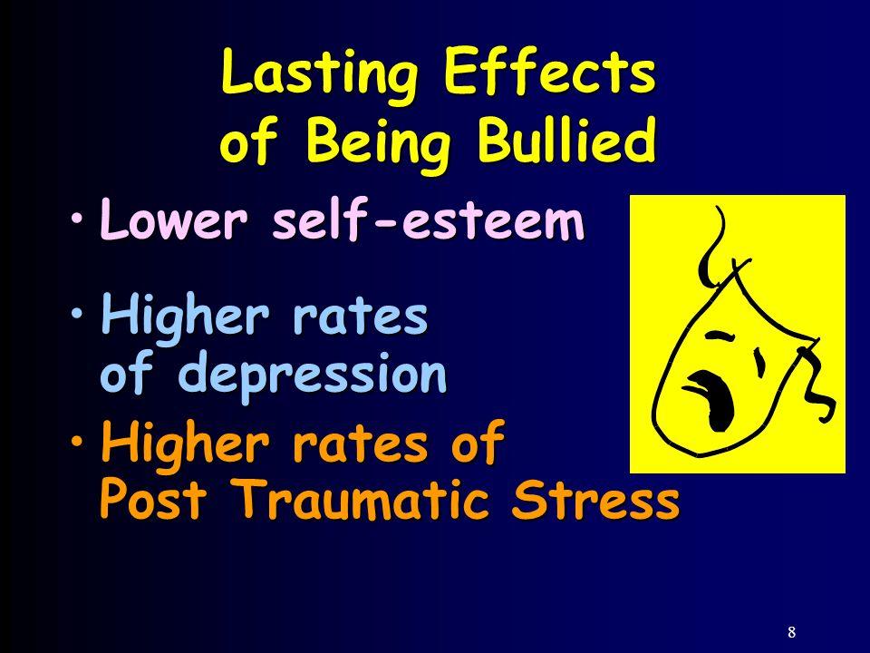 8 Lasting Effects of Being Bullied Lower self-esteemLower self-esteem Higher rates of depressionHigher rates of depression Higher rates of Post Traumatic StressHigher rates of Post Traumatic Stress