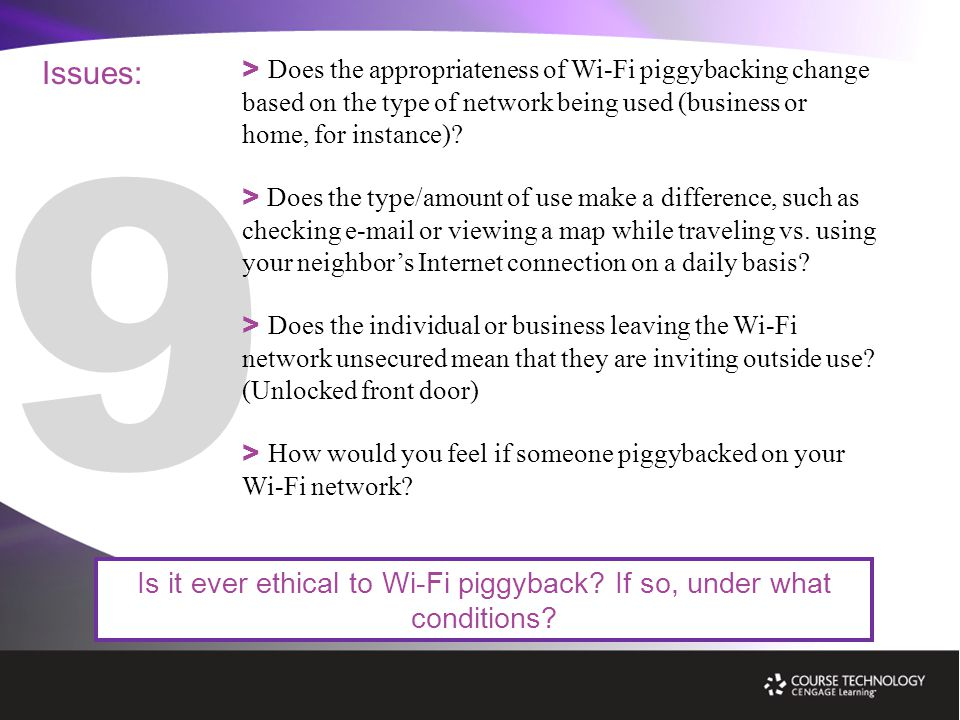 Issues: Is it ever ethical to Wi-Fi piggyback. If so, under what conditions.