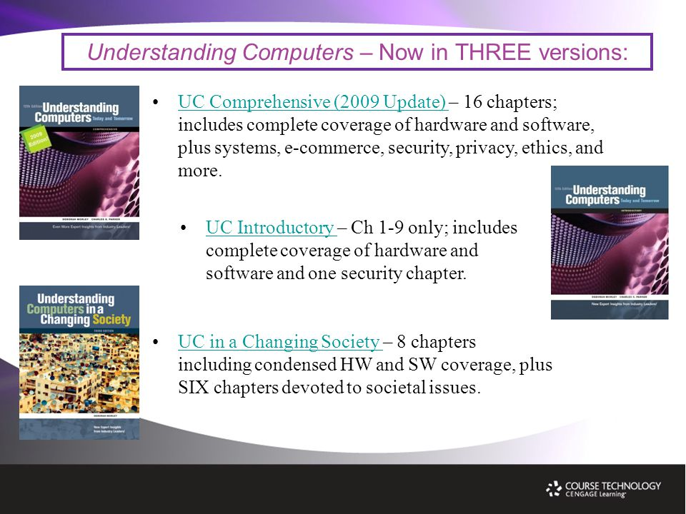 Understanding Computers – Now in THREE versions: UC Comprehensive (2009 Update) – 16 chapters; includes complete coverage of hardware and software, plus systems, e-commerce, security, privacy, ethics, and more.UC Comprehensive (2009 Update) UC in a Changing Society – 8 chapters including condensed HW and SW coverage, plus SIX chapters devoted to societal issues.UC in a Changing Society UC Introductory – Ch 1-9 only; includes complete coverage of hardware and software and one security chapter.UC Introductory