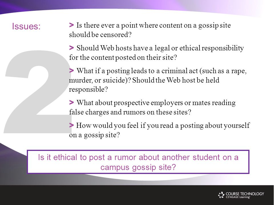 Issues: Is it ethical to post a rumor about another student on a campus gossip site.