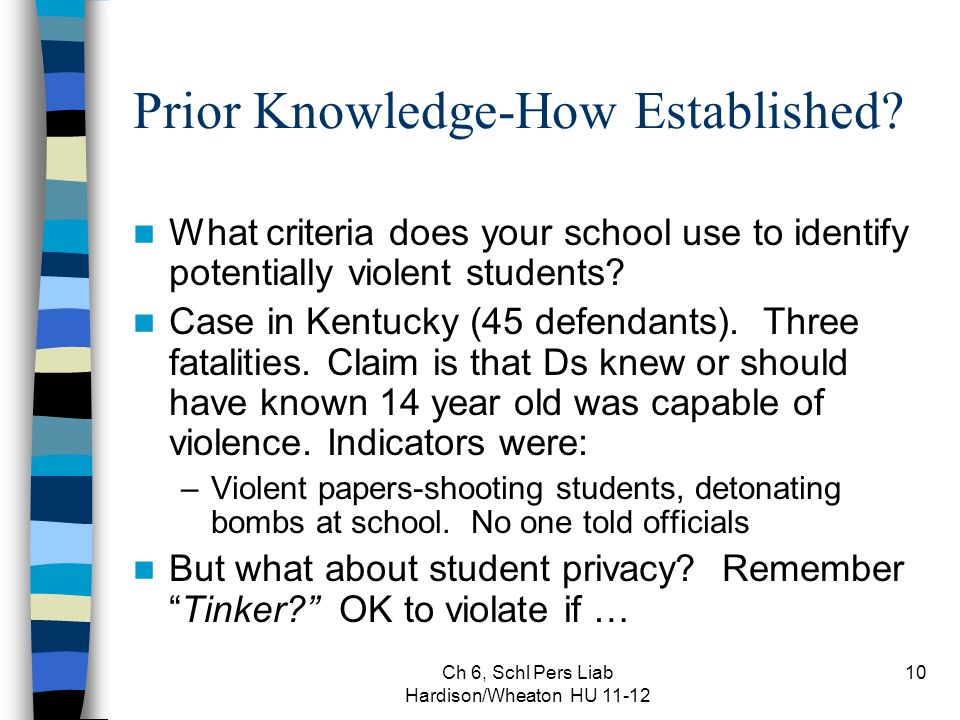 Ch 6, Schl Pers Liab Hardison/Wheaton HU 11-12 10 Prior Knowledge-How Established? What criteria does your school use to identify potentially violent