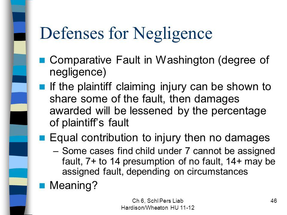 Ch 6, Schl Pers Liab Hardison/Wheaton HU 11-12 46 Defenses for Negligence Comparative Fault in Washington (degree of negligence) If the plaintiff clai