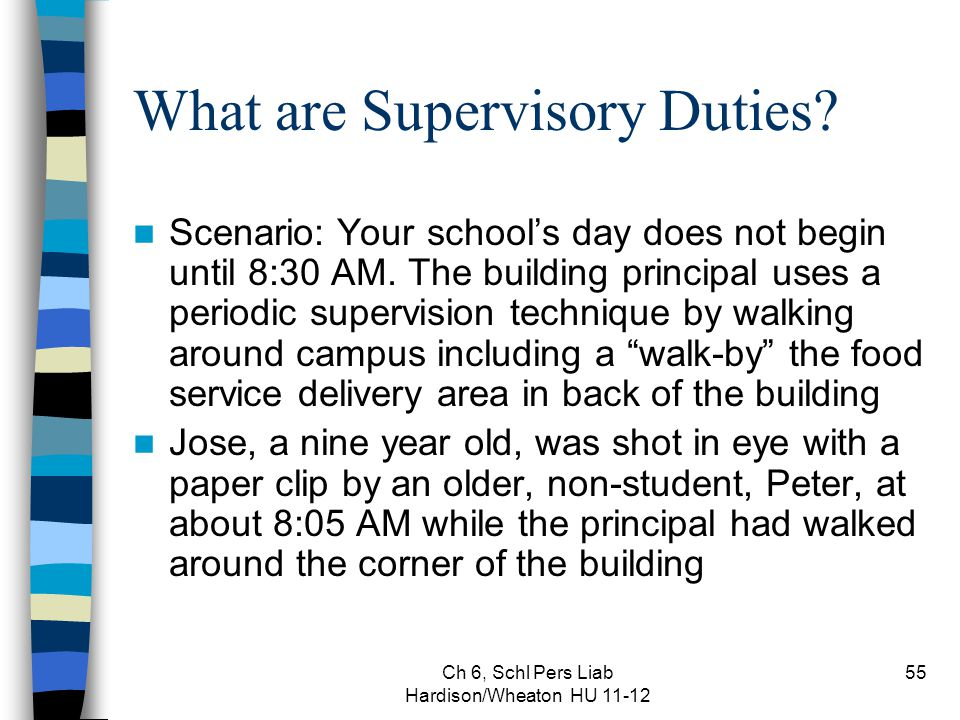 Ch 6, Schl Pers Liab Hardison/Wheaton HU 11-12 55 What are Supervisory Duties? Scenario: Your school's day does not begin until 8:30 AM. The building