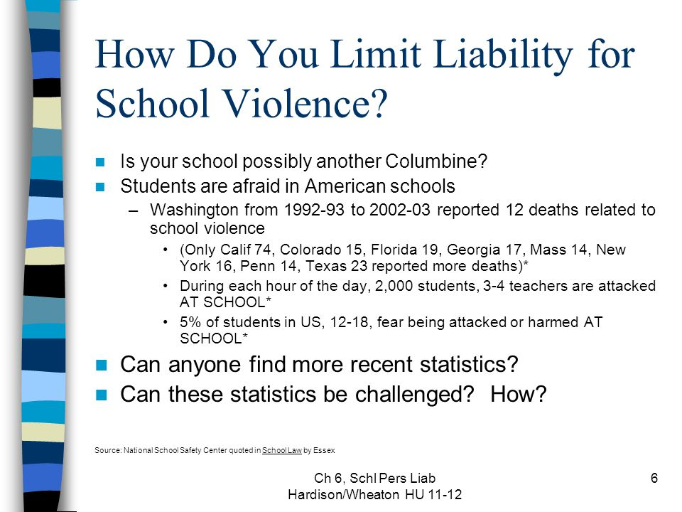 Ch 6, Schl Pers Liab Hardison/Wheaton HU 11-12 6 How Do You Limit Liability for School Violence? Is your school possibly another Columbine? Students a
