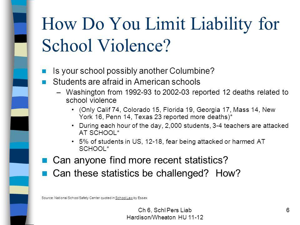 Ch 6, Schl Pers Liab Hardison/Wheaton HU 11-12 27 What is Premises Liability.