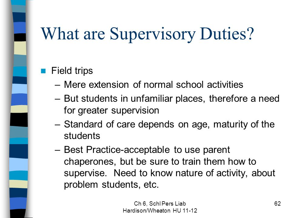 Ch 6, Schl Pers Liab Hardison/Wheaton HU 11-12 62 What are Supervisory Duties.
