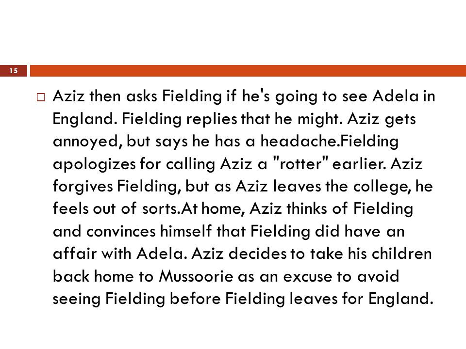  Aziz then asks Fielding if he s going to see Adela in England.