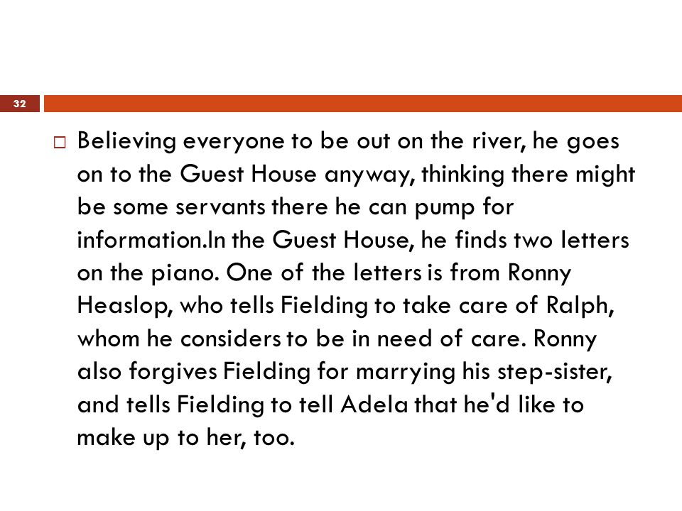  Believing everyone to be out on the river, he goes on to the Guest House anyway, thinking there might be some servants there he can pump for information.In the Guest House, he finds two letters on the piano.