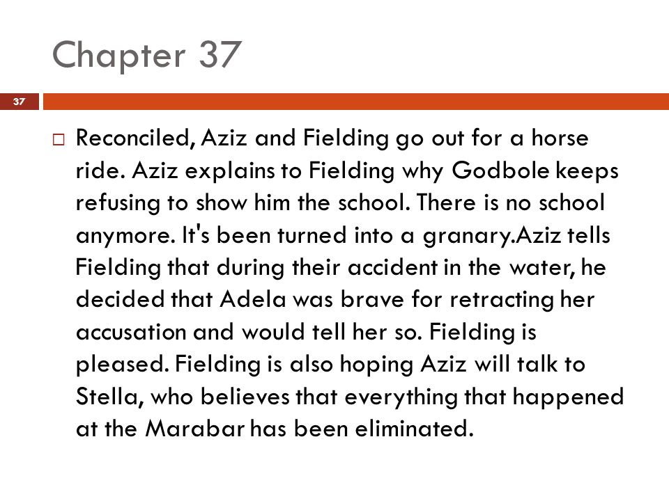 Chapter 37  Reconciled, Aziz and Fielding go out for a horse ride.